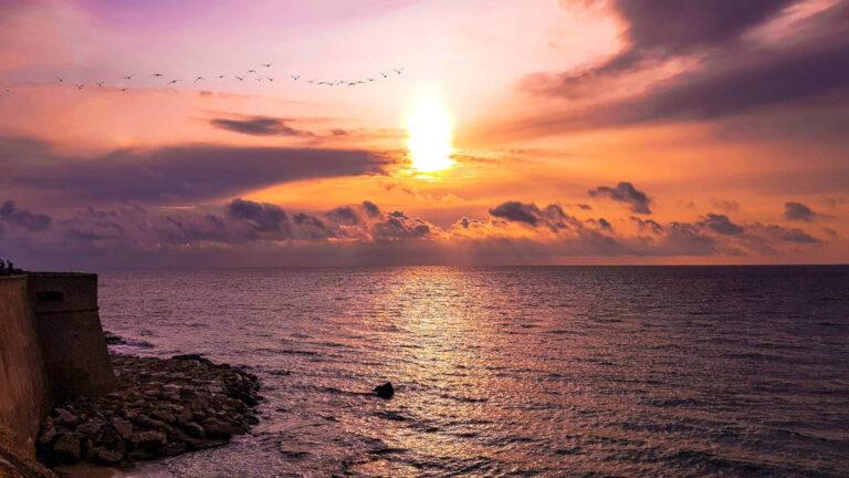 Il tramonto sulla spiaggia di Gallipoli